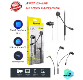 Original Awei ES-180i Gaming Earphone with Microphone 3.5mm Plug for Android IOS PC Console E-Sport ~ KC