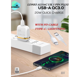 Original LDNIO A2316C 20W Fast Charge Charger QC3.0 + PD Fast Charge UK 3pin plug Type-C charger