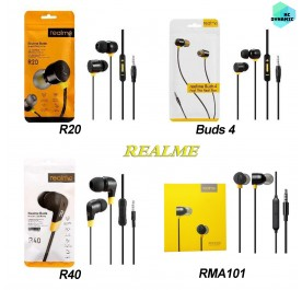 Realme Buds 4 R40 R20 RMA101 Earphone 3.5MM Earbuds with Mic Wire Control Wired REALME Headset