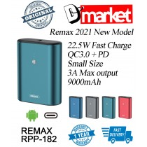 Original Remax RPP-182 9000mAh 22.5W Power Bank Fast Charge PD QC3.0 Type-C
