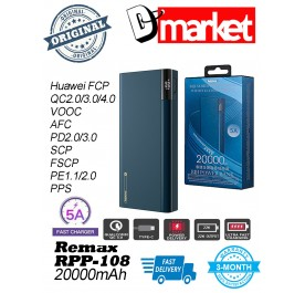 Original Remax RPP-108 20000mAh 5A Fast Charge PD Qualcomm 3.0 Power Bank QC4+ QC3.0 FCP VOOC AFC SCP FSCP PE PPS